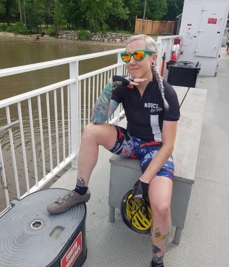 Smug on a boat.