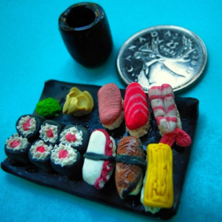 Modelling clay sushi platter.