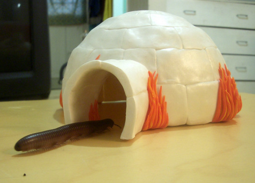 A giant millipede runs into an aflame igloo made from polymer clay.