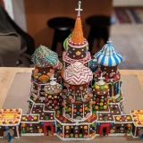 A fully edible St Basil's Cathedral, made entirely from gingerbread and candy.
