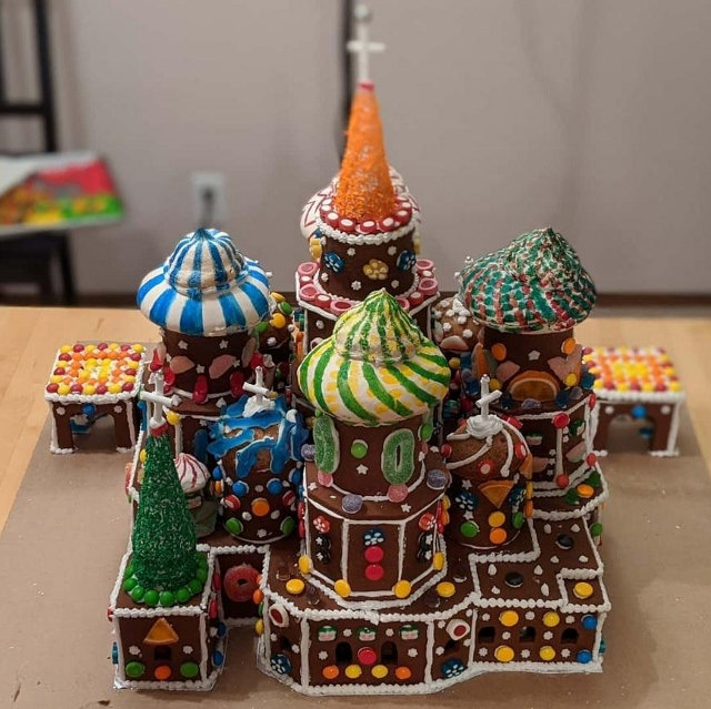Rear view of gingerbread St. Basil's Cathedral.
