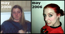 Side by side comparison of Laura from 2000 and 2006. 2000 Laura has long, blonde hair and a mildly bitchy facial expression. 2006 Laura has red hair in a ponytail, heavy eyeliner. She is baring her teeth while raising one eyebrow.