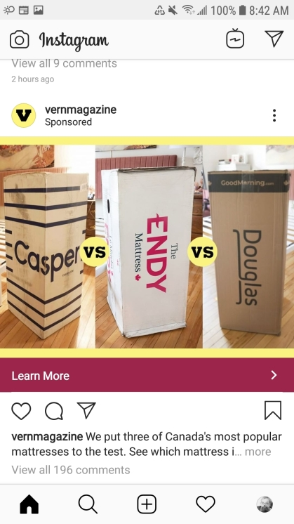 An Instagram ad for Vern Magazine. The ad shows three differen boxes containing rolled-up mattresses from the brands Casper, Endy, and Douglas. The time stamp is 8:42am.