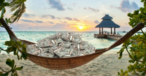 Stacks of US cash rest in a hammock in front of a sandy beach with a gazebo at the end of a pier.