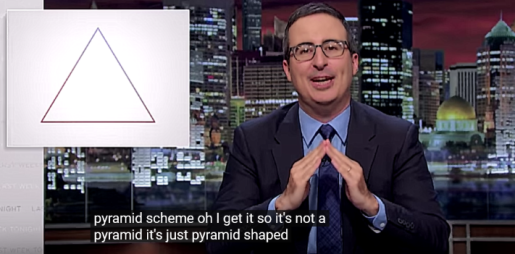 Screen shot from Last Week Tonight with John Oliver, in which John is shown making a peak with his fingers, as to represent a pyramid. The inset on the left is a line drawing of a pyramid, and the caption reads,
