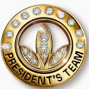A rendering of Herbalife's President's Team pin, which is gold and studded with diamonds.