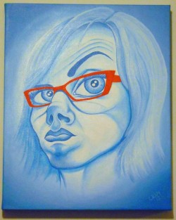 A cariacture-style self-portrait done in shades of blue, with orange eyeglasses.
