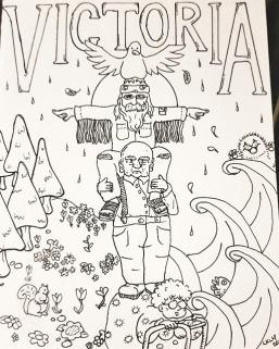 """A line drawing featuring a """"totem"""" made up of three Baby Boomers and a seagull. VICTORIA is written across the top in block letters. On the left are trees, flowers, and a squirrel. On the right are waves, a sea otter and a fish. Raindrops fill the space between the letting, totem, and landscape."""
