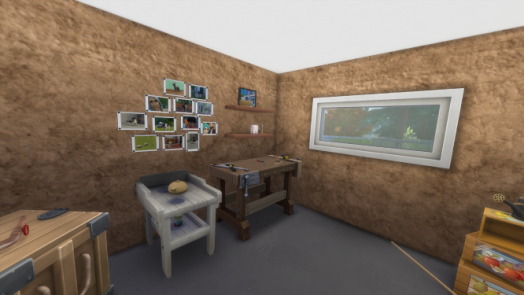 A 3D rendering of a gardening shed. Photos are pinned to the left of two shelves. On the lower shelf is a cookie jar.