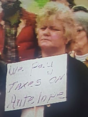 A thin-lipped narrow-eyed plump woman with short curly blonde hair holds up a sign that reads: We pay taxes on Antelope.