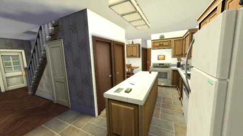 A 3D rendering of a kitchen with an island counter.