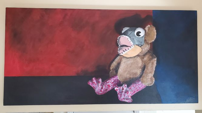 A moody-looking painting with a sinister-looking plushie seated in the corner of a red and blue room. The plushie has the body of a tan teddy bear, the face of a piranha with eyes that bug out, and frog's legs that are pink with fuchsia dots.