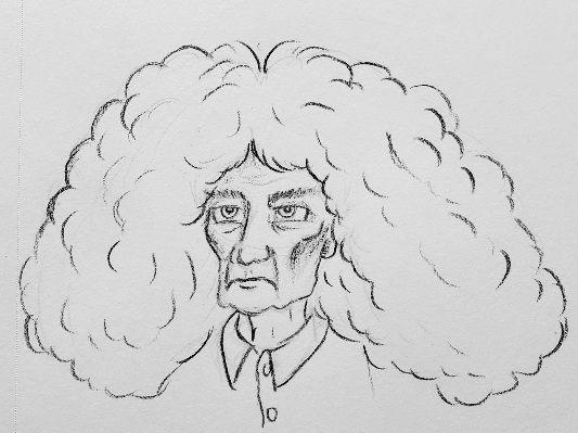 A line drawing of a gaunt man with a massive head of curly hair.