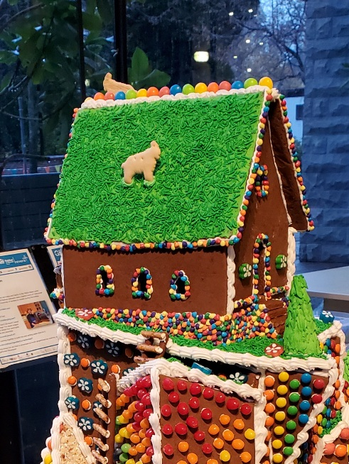 Close-up of the rear of the gingerbread house.