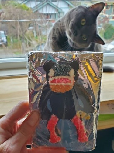 A cookie decorated to resemble the aforementioned character. A grey cat with its head turned is out-of-focus in the background.