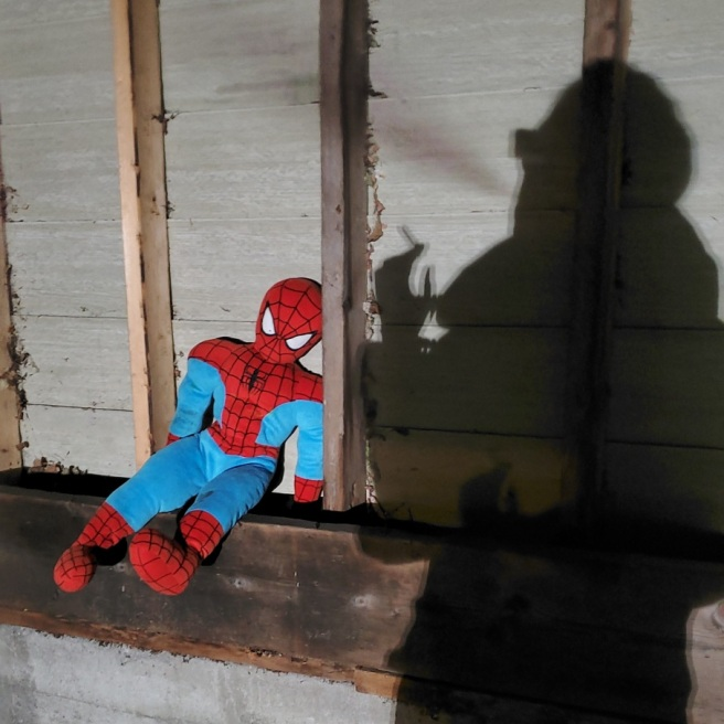 A shadow holding a joint blows smoke out as a Spiderman plushy leans against the supports of a carport.