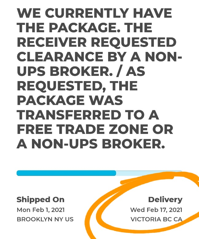 Screen shot of tracking information. Message reads: WE CURRENTLY HAVE THE PACKAGE. THE RECEIVER REQUESTED CLEARANCE BY A NON-UPS BROKER. / AS REQUESTED, THE PACKAGE WAS TRANSFERRED TO A FREE TRADE ZONE OR A NON-UPS BROKER.  The delivery date shown is for Wednesday February 17, 2021.
