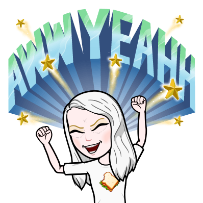A bitmoji with her eyes shut and fists in the air. The text reads AWW YEAHH and there are golden shooting stars.