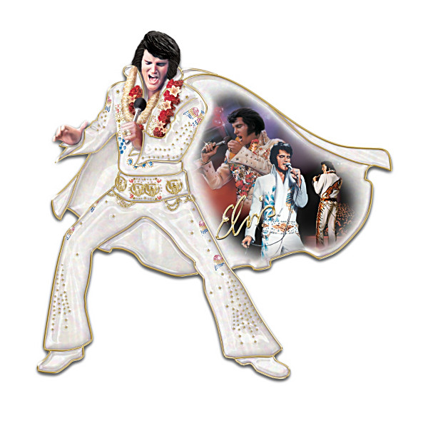 An Elvis-shaped wall sculpture in which Elvis is dressed in rhinestone studded bell bottoms and a cape. A montage of three Elvises is printed on the inside of the cape.