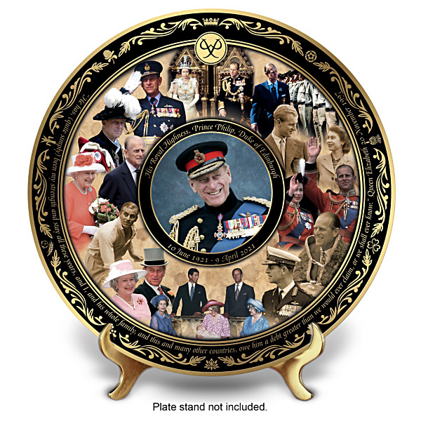 A Prince Philip commemorative plate featuring Prince Philip's latest portrait surrounded by a montage of Prince Philip over the years. The Queen makes an appearance. The words under the plate reads: Plate stand not included.