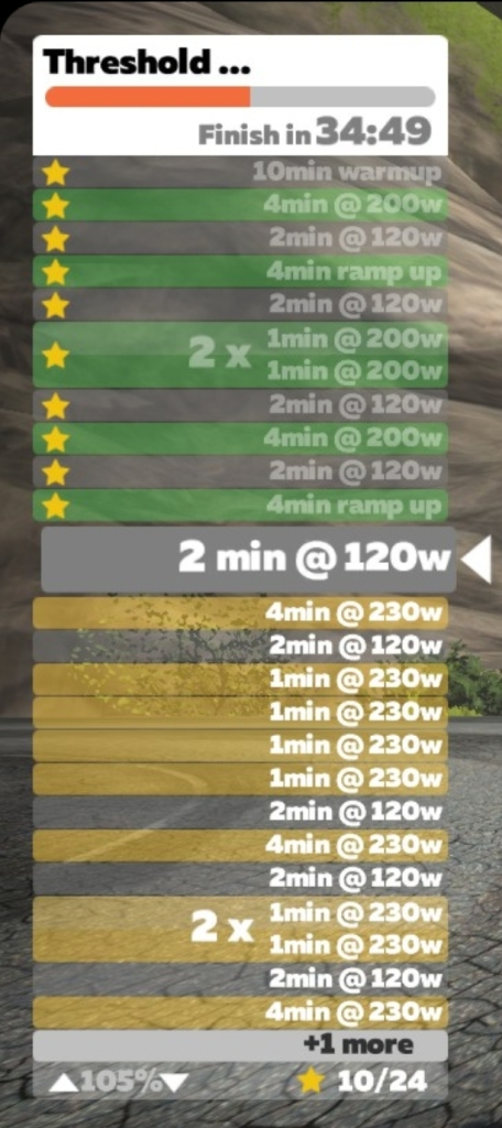 Screen shot of the Zwift workout listing the intervals, beginning with a ten-minute warmup followed by five four-minute intervals at 200 watts with two minutes of rest at 120 watts. The second half of the workout has five intervals of four minutes at 230 watts with two minutes at 120 watts in-between.